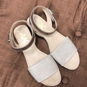 Anne Klein Sport glitter gold Velcro strap sandal